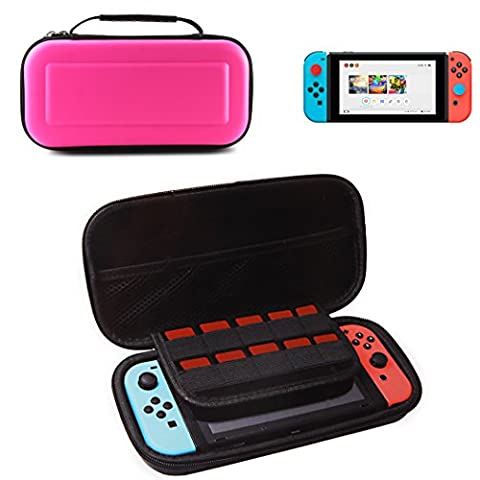 1pcs Nintendo Switch Case with 10 Game Holder (PINK) , Hongfa Replacement Waterproof Hard Shell Travel Carrying Case, Protective Storage Bag Pouch for Nintendo Switch Console & Accessories