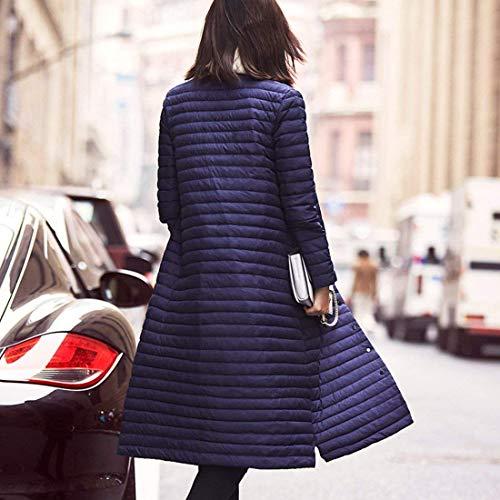 Invernali Bottoni Donna Manica Elegante Con Blau Lunga Piumini Chiusura Giacca Puro Leggermente Outerwear Giacche Imbottito Trapuntata Colore Casual Cappotto Pureed tasche 1SqAxn