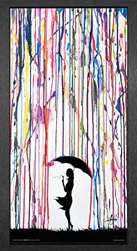 Marc Allante Girl Blowing Dandelion Under Umbrella Paint Rain Modern Contemporary Decorative Art Poster Print, Framed 12 by 24