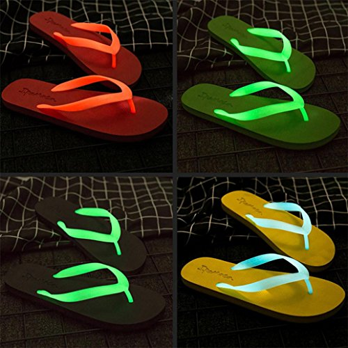 d'été Chaussures Red lumineux the Couple in Tongs Unisexe Good01 Semelle Pantoufles Glow Plat Dark HxF75w1gq