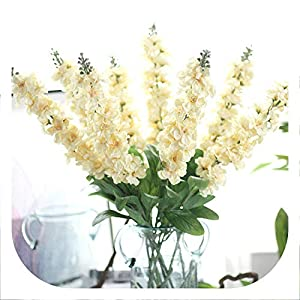 Memoirs- 10PCS Delphinium Silk Flower Artificial Europe Wedding Hyacinth Flower Bouquet for Home Party Decoration Christmas Fake Flower 7
