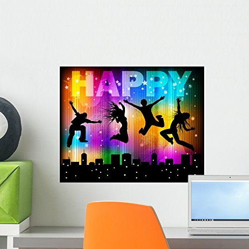 Wallmonkeys Happy Wall Mural Peel and Stick Graphic (18 in W x 14 in H) WM40068 ()