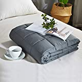 Weighted Blanket for Kids and Adult(20lbs, 60''x80'', Queen Size),Bed Couch Heavy Blanket with 100% Cotton Material and Glass Beads for Kids and Adult-Dark Grey