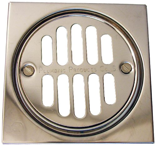 LASCO 03-1245 Shower Drain Trim Kit with 3 3/8-Inch Grid Strainer and 2 1/2-Inch Screw Holes, 4-Inch, Chrome Plated (Grid Drain Shower Kit)