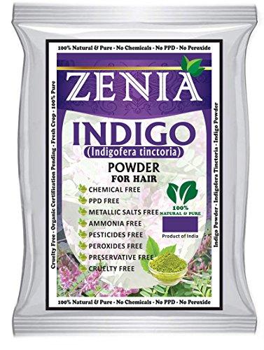 2 x 100 grams Zenia Indigo Powder for Hair Natural Black Hair Dye (Dye Hair Black With Henna And Indigo)