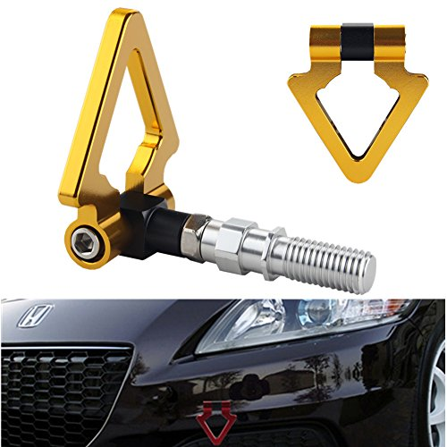 DEWHEL JDM Racing Aluminum Triangle Tow Hooks Eyes Front Rear Japanese Car Auto Trailer Gold for 09-13 Honda ()