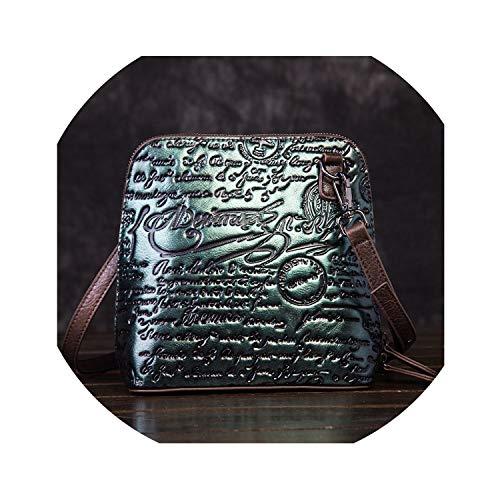 2018 Women Embossed Messenger Shoulder Bags Luxury Genuine Leather Crossbody Handbags Vintage Embossing Top Handle Bags,Green Black