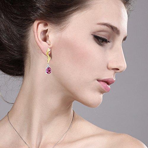 Gem Stone King 3.82 Ct Oval Pink Mystic Topaz 925 Sterling Silver Earrings