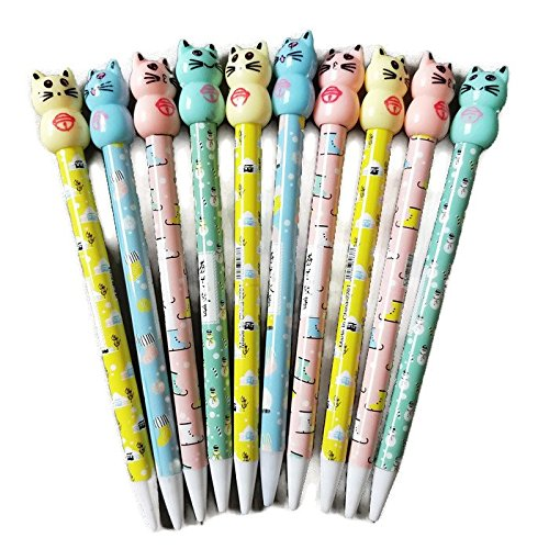 Kawaii School Supplies 10 pcs Cat Themed Pencils for Kids, Teens, Girls, Boys, Women & Adults Animal Office Supplies for $<!--$14.95-->