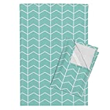 Roostery Chevron Teal Blue Arrows Littlearrow Modern Sea Blue Tea Towels Chevron (Aruba) Glacier Woods by Littlearrowdesign Set of 2 Linen Cotton Tea Towels