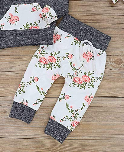 Baby Girls Long Sleeve Flowers Hoodie Tops and Pants Outfit with Pocket Headband