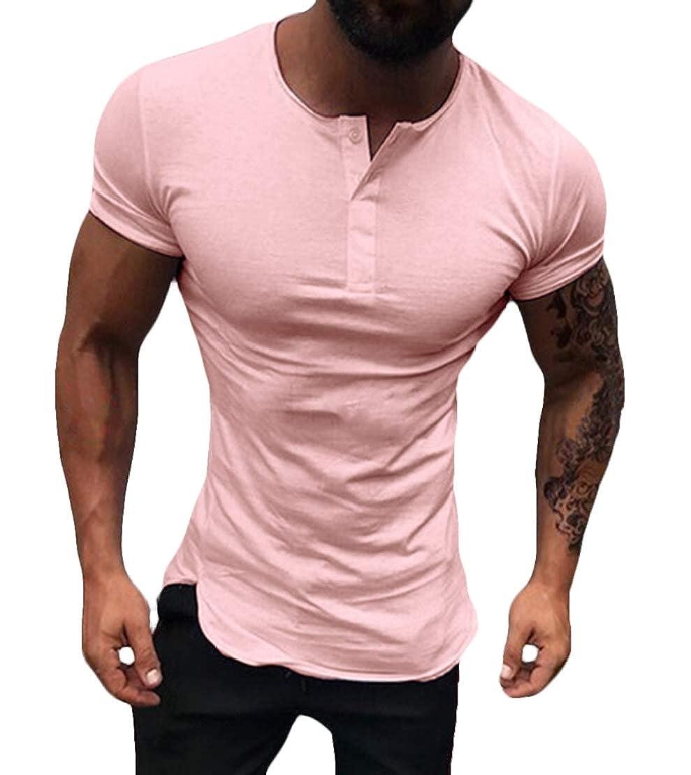 Jotebriyo Mens Short Sleeve Slim Fit Round Neck Solid Color Basic Henley Shirts