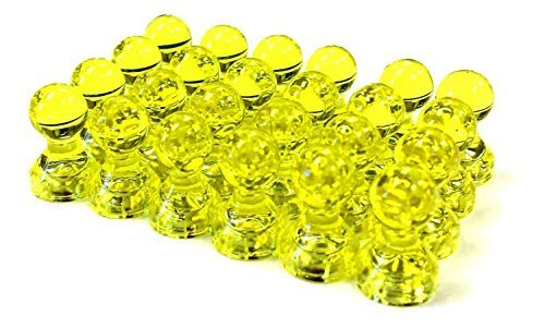 - 24 Yellow Magnetic Push Pins - Perfect Magnets for Fridge, Calendars, Whiteboards, and Maps