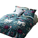 EnjoyBridal Floral Animals Bear Bedding Duvet Cover Sets Kids Queen Cotton Blue Teens Boys Girls Bedding Cover Sets 3 Pieces Reversible Use Comforter Cover(StyleA, Queen)