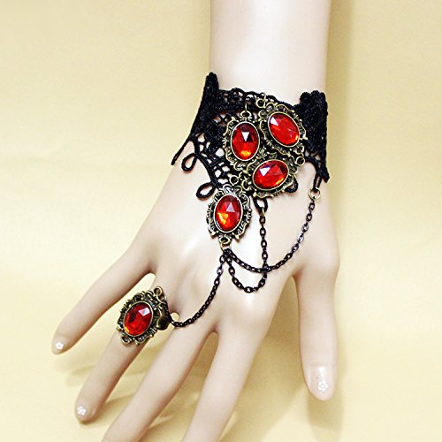 British bride vintage Halloween woman vampire black lace bracelet with one chain ring