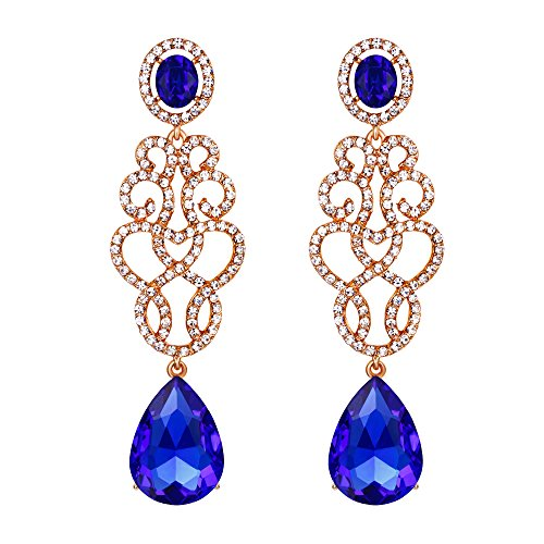 BriLove Gold-Toned Dangle Earrings for Women Wedding Bridal Crystal Floral Filigree Teardrop Chandelier Earring Royal Blue Sapphire Color (Crystal Shoes Bridesmaid)