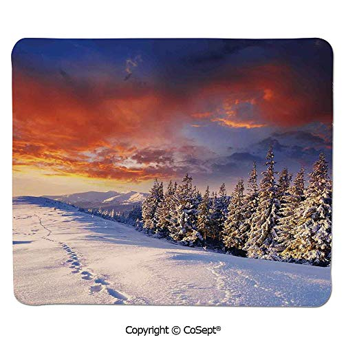 Quality Selection Comfortable Mouse Pad,Epic Cloudy Sky Over Majestic Mountains and Footsteps on Valley Decor,for Laptop,Computer & PC (15.74