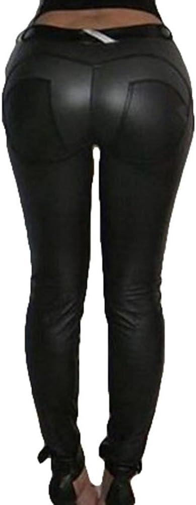 Mujer Mojado Mira Polainas Sintético Cuero Suave Treggings Señoras Flaco Medias Pantalones Aptitud Delgado Lápiz Pantalones Negro Vino rojo Armada Plateado S - XXXL junkai
