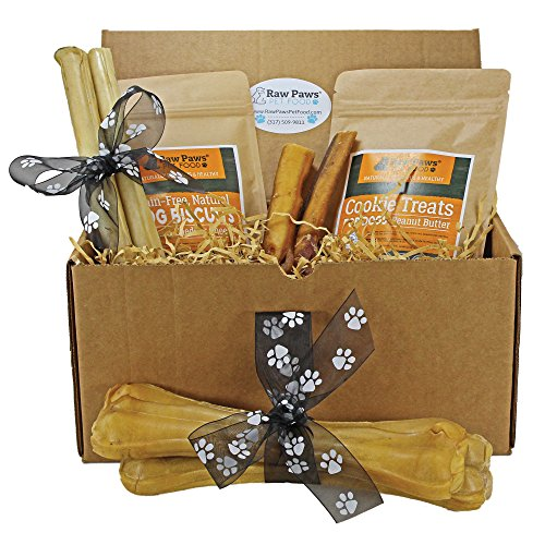 Raw Paws Pet Dog Birthday Treats for Large Dogs - Dog Gift Box - Dog Chews and Treats Variety Pack - Birthday Gifts for Dogs - Dog Gift Basket - Natural Rawhide Chews, Bully Sticks, Biscuits & Cookies (Dog Treat Gift Baskets)