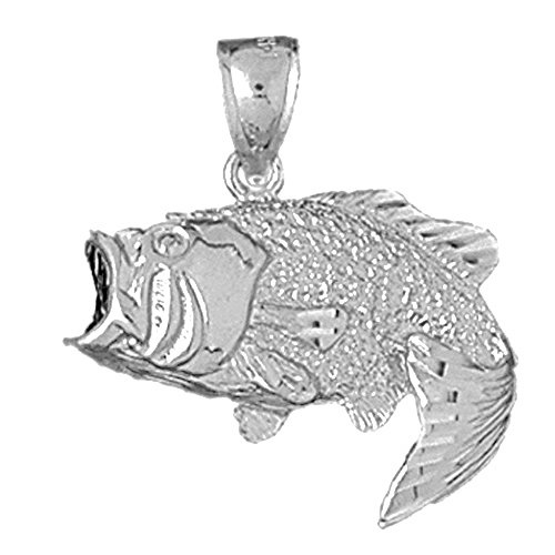 Jewels Obsession Bass Pendant | Sterling Silver 925 Bass Pendant - 27 mm ()