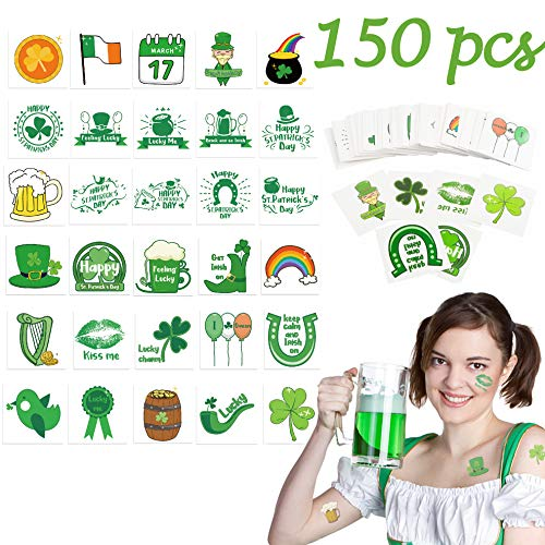 (R HORSE St Patrick's Day Temporary Tattoo Stickers St. Patrick's Day Decorations Accessories Party Favors Supplies Happy St Patrick's Day Clover Colorful Waterproof Flash Tattoos (150)