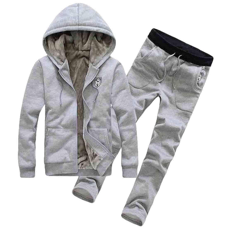GRMO Men Zipper Hooded Sweatshirt Thick Fleece Lined Jogging Tracksuit Set