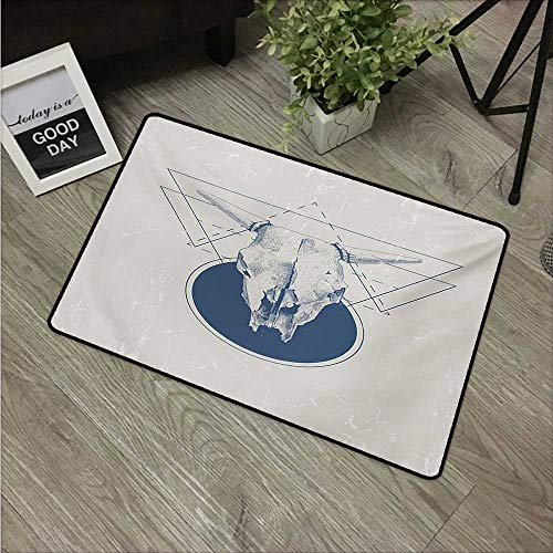 HRoomDecor Modern,Door mats Skull Animal Bull Horns in a Vintage Poster Like Design Work of Art W 20