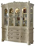 Meridian Furniture 702-HB Barcelona Solid Wood Dining Room Hutch and Buffet / China Cabinet with Traditional French Provincial Handcrafted Designs, Rich Pearl White Finish With Silver Accents