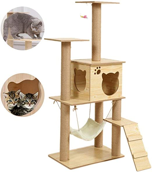 Rascador de árbol para gatos con hamaca de gran tamaño, árbol para ...