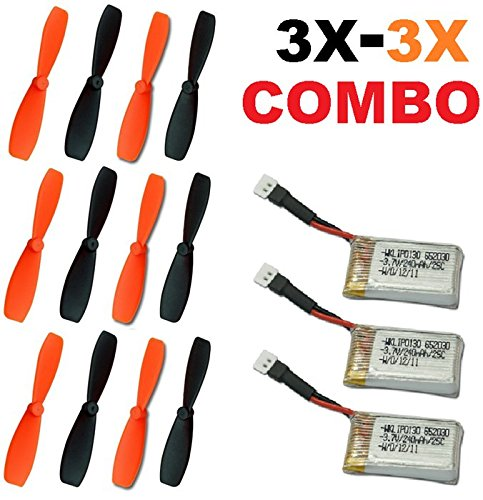 Pack Main Rotor Blades (Radio Shack Surveyor Drone Battery 3 x 3.7v 240mAh 3 x Propeller Blade Combo Main Rotors LiPo Parts - FAST FREE SHIPPING FROM Orlando, Florida USA!)
