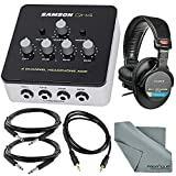 Samson QH4 4-Channel Headphone Amplifier Bundle with Professional Headphones + Cables + Fibertique Cleaning Cloth