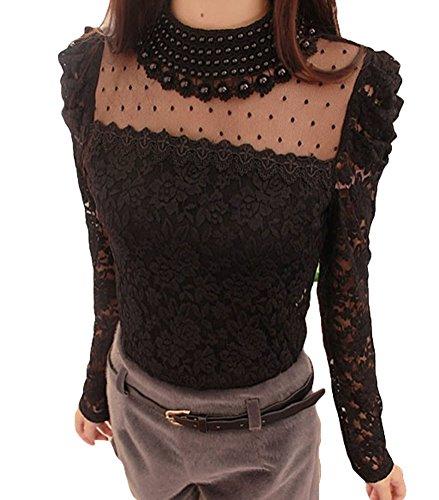 Bluetime Women's Long Sleeve Embroidery Pearl Sheer Lace Crochet Blouse (L, Black)