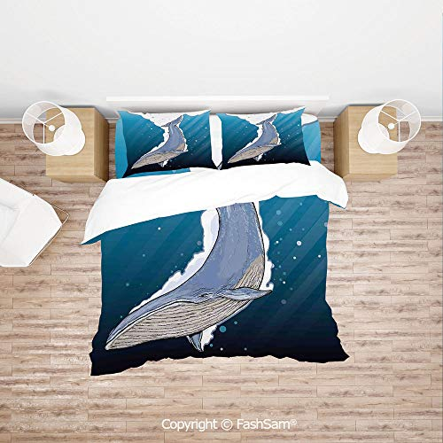 FashSam Duvet Cover 4 Pcs Comforter Cover Set Cartoon Whale Swimming Under Ocean with Little Fish Shells Near Palm Island for Boys Grils Kids(King)