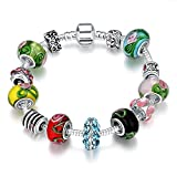 Young & Forever Women's Valentine Allure Colors Of The Rainbow Charms Bracelet