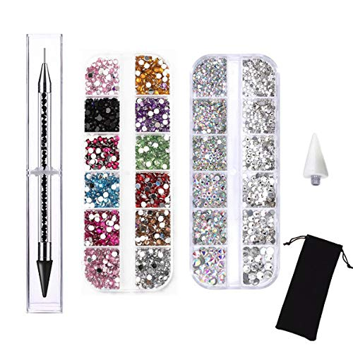 Amaoz Rhinestone Jewel Pickup Tool,Dual-ended Picker Dotting Pen Crystal Studs Wax Pen, Flat Back Gems Round Rhinestones for Nails Decoration Crafts Eye Makeup Clothes Shoes︱Mix SS4 6 10 12 -