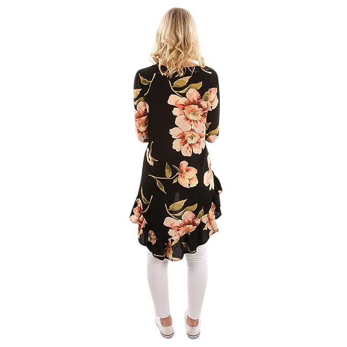06260140b2e3fd LAEMILIA Damen T-Shirt Long Sleeve Floral Muster Tunika Loose Vorne Kurz  Hinten Lang Casual Langarmshirt  Amazon.de  Bekleidung