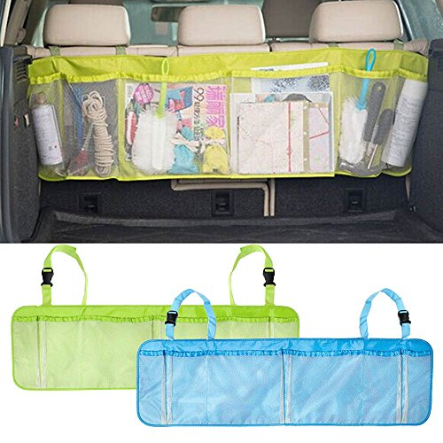 6 Pockets High Capacity Car Seat Back Tidy Hanging Organiser Auto Travel Holder Car Cargo Storage Bag Holder Container Box Bin Pouch,Fits Any Car (Green)