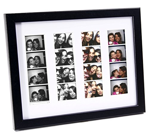 CreativePF [pbw8.5x11bk-w] Photo Booth Frame Holds 4- 2x6 with White Mat to Display, Cherish and Preserve your Wedding (Photo Booth Strip Frame)