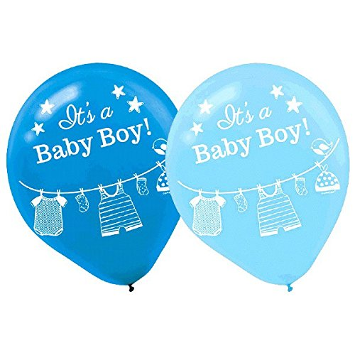 Amscan Lovely Shower with Love Boy Latex Baby Shower Party Balloons Décor (15 Piece), 12
