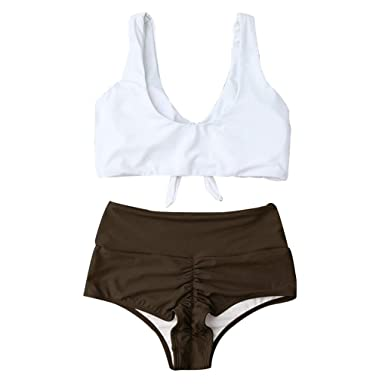 0b2faa948 Amazon.com  Women Contrast Color Swimwear Ladies Swimsuit High Waist Sexy Bikini  Panty Bra  Clothing