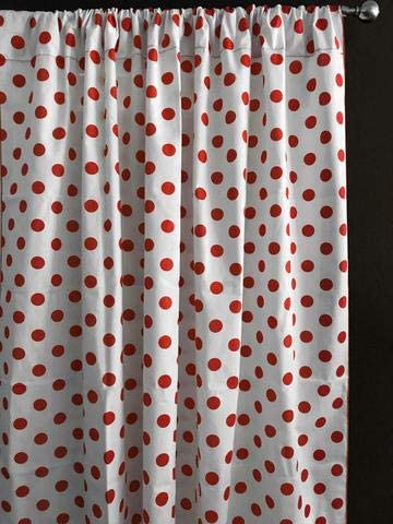 Red Dots, 48 Tall x 58 Wide Childrens Room Window Living Room Window Decor Zen Creative Designs Polka Dots on White Cotton Curtain Panel Perfect for Bed Room Window