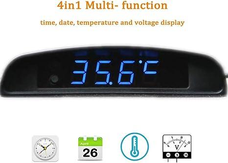Boomboost 4 In1 Voiture Date Horloge Voltm/ètre Thermom/ètre Tension Moniteur 12 V dorigine Voiture Int/érieur Ext/érieur Multi-Fonction