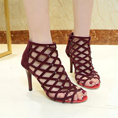 Omiky® Frauen Mode Peep Toe High Heels Schuhe Niet Römischen Gladiator Sandalen Wein