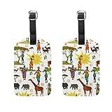 FunnyCustom Luggage Tag Africa Elephant Giraffes Travel Accessory