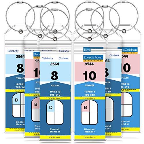 Tags, Weatherproof Zip Seal & Steel Loops for Royal Caribbean and Celebrity Cruise (8 Pack) ()
