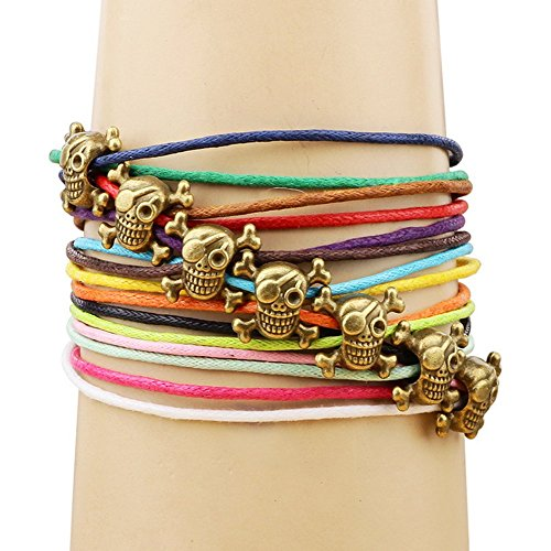 Winter's Secret Bronze Skull Pattern Hand Braided Diy Color Wax Rope Ancient Wrap - Bracelet Pattern Dog