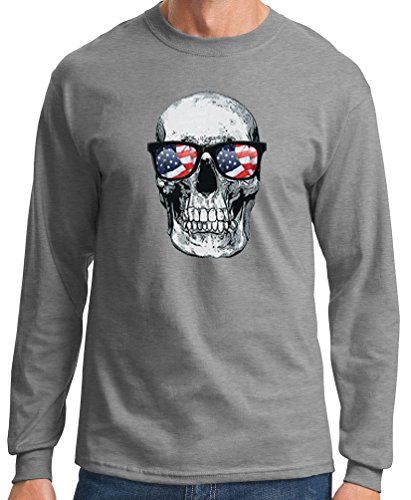 Big Men's Long Sleeve American Glasses Skull Graphic Tee, 6X, Ath Grey
