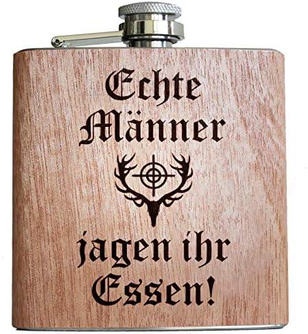Jäger Holz Flachmann Jagd Jägerin jagen Geschenke Männer Frauen Hirsch Geweih lustiger Spruch Alkohol Waidmannsheil
