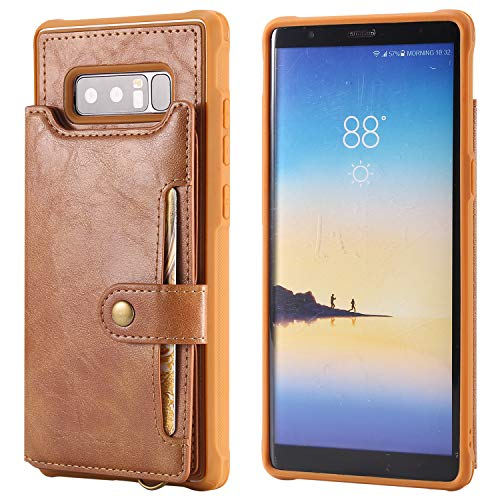 Note 8 Wallet Cover Case Samsung Galaxy,Card Slot Wrist Band Leather Protective Kickstand Durable Shell Magnetic Snap Brown for Women Men Boy Girl