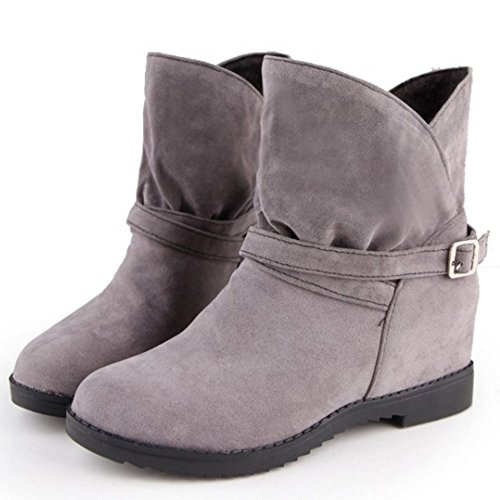 COOLCEPT Mujer Comodo Aumentar Tobillo Slouch Botines 236 Grey